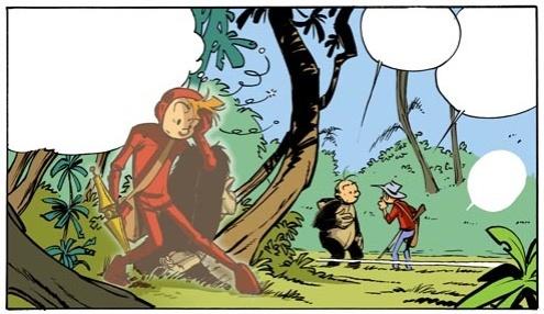 Spirou besöker en yngre version från Gorillan och guldgruvan