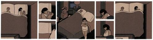 En av 52 stumma sidor från ett av häftena; scener med någon som sover återkommer ofta i Building Stories