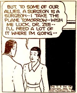 Under kriget fick kvinnor chansen att utöva nya yrken, som här en kvinnlig kirurg som självklart vill bidra till krigsinsatsen